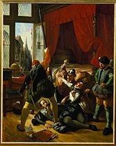 a scene from the night of St. Bartholomew when the Protestant Huguenots in Paris and in the provinces were massacred by the Catholics during the night of August 23/24 1572).  Lessingimages.com - Search Results for Huguenots, Protestants