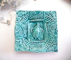Ceramic Sea Turtle Dish Plate Spoon Rest Sponge Holder Turquoise. $10.00, via Etsy.