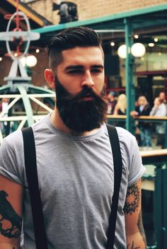 chris millington black brown beard dark beards bearded man men stylish handsome undercut tattoo tattoos tattooed suspenders