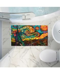 Bath Rugs and Mats from DiaNoche Designs by artist Dean Russo - Starry Night. Blue Yellow, Pink Purple, Dean Russo, Rugs And Mats, Bath Mats, Room Rugs, Van Gogh, New Art, Tapestry