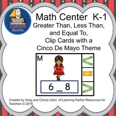 Comparing numbers - greater than, less than, and equal to with a Cinco de Mayo theme.  Students will put a clothespin on thier answer.  Fine motor and math in one.