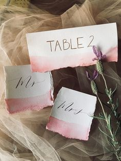 Pink + White Watercolor Wedding Stationery - Inked Letters Calligraphy
