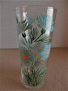 Federal Glass Company Boutonniere or Ever Yours Pattern Ice Tea Glasses - Set of 6