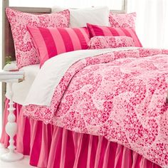 If you love pink, you're going to love this Sophia Duvet Cover by Pine Cone Hill. What a pretty way to dress up a girls bed!