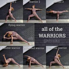 One of my favourite yoga inspirations! She's sharing all of the Warrior Pose… One of my favourite yoga inspirations! She's sharing all of the Warrior Poses/ Variations Ashtanga Yoga, Yoga Bewegungen, Yoga Pilates, Yoga Moves, Yoga Meditation, Yoga Exercises, Yoga Flow, Stretches, Hatha Yoga Poses