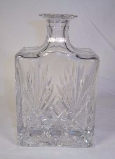 Vintage Heavy Crystal Cut Glass Decanter Liquor / Scotch / Whiskey Clear Barware #Unbranded