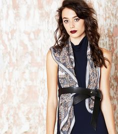 Silk Square scarf with belt