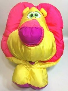 """Puffalump Big Things Lion Fisher-Price Yellow Vintage 1994 Plush Nylon LARGE 25"""" #FisherPrice Easter Bunny Eggs, Vintage Fisher Price, Pink Cat, Greatest Adventure, Awesome Stuff, Bean Bag Chair, Vintage Items, Lion, Plush"""