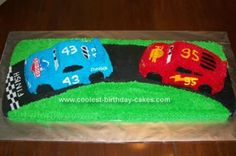 Homemade  Lightening McQueen and The King Cake: My sons birthday's are 4 weeks apart so we have one party between them. I wanted a theme and they both like Lightening McQueen.  So I decided to make one