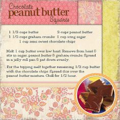 Chocolate Peanut Butter Squares - Two Peas in a Bucket