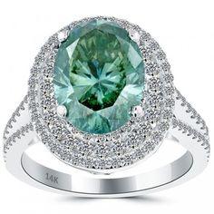 5.33 Carat Fancy Greenish Blue Oval Cut Diamond Engagement Ring 14k White Gold