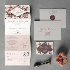 Belle Concertina Wedding Invitations and Save the Date.
