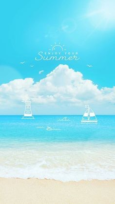 Enjoy your summer Cartoon Wallpaper, Mobile Wallpaper, Wallpaper Quotes, Iphone Wallpaper, Boxing Day, Phone Backgrounds, Abstract Backgrounds, Summer Beach, Summer Vibes