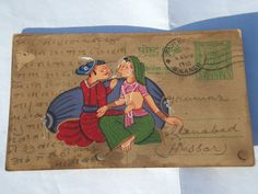 This is A lovely old Rajasthan miniature painted Indian postcard of a couple of young lovers This painting style is called Maru-Gurjar