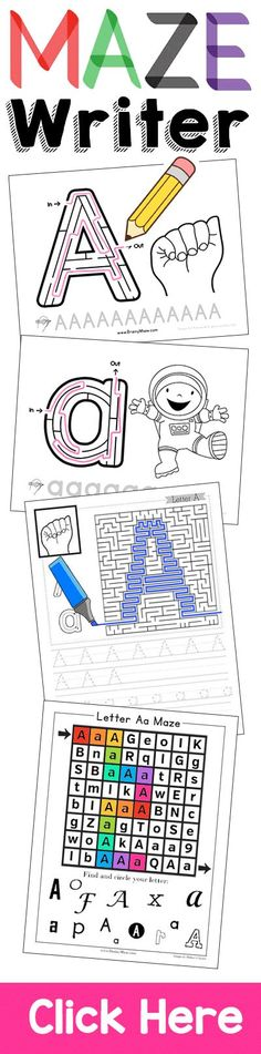 Maze Writer Handwriting Program for Kids. Handwriting has never been this fun! Each handwriting page includes a fun maze and activity for children solve. Children build fine motor skills necessary for Mazes For Kids, Activities For Kids, Therapy Activities, Learning Activities, Letter Maze, Improve Your Handwriting, Pre Writing, Writing Skills, Preschool Printables