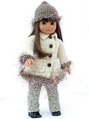 """18"""" doll crochet winter outfit American Girl Outfits, American Doll Clothes, Ag Doll Clothes, Doll Clothes Patterns, Doll Patterns, American Dolls, Clothing Patterns, Crochet Doll Dress, Crochet Doll Clothes"""