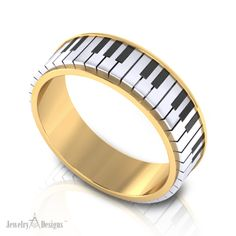 Jewelry Design of the Day! Now we are having fun! A rendering of a piano keyboard wedding ring that we created for a client in Yellow gold with white gold keys undercut with black ceramic keys.