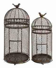 UMA Enterprises Rustic Metal Free Standing Bird Cages (Set of 2)