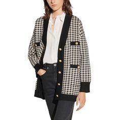 Sandro Dane Long Houndstooth Cardigan Winter Wardrobe Essentials, Fashion Branding, Sandro, Houndstooth, Knit Cardigan, Knitwear, Fashion Design, Style, Swag
