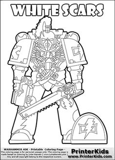 Coloring Page Showing A High Detail White Scars Space Marine From Warhammer 40000 40k