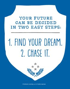 Graduation Quotes: Your future can be decided in two easy steps: 1. Find your dream. 2. Chase it.