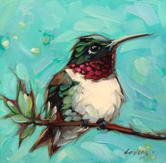 Hummingbird painting original impressionistic oil by LaveryART Bird Paintings On Canvas, Mini Canvas Art, Animal Paintings, Hummingbird Painting, Panel Art, Bird Art, Watercolor Paintings, Donkey, Drawings