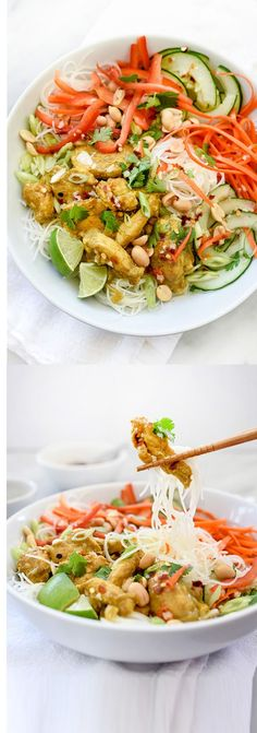 Vietnamese Curry Chicken and Rice Noodle Salad Bowl - This clean and fresh noodle salad gets its savory flavor from curried chicken chunks dressed with a lime and rice vinegar dressing and tons of fresh veggies and leafy green herbs.