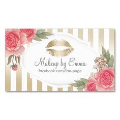 Makeup Artist Vintage Floral Modern Gold Stripes Business Card