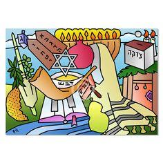 Jewish Holiday Around the Year, Digital Artwork Print by Yiddy Lebovit – Matana Boutique