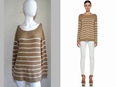 VINCE NET-A-PORTER CASUAL-LUXE!!! STRIPED RAWHIDE COTTON KNIT SWEATER TOP $220 S
