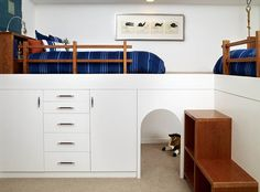 design by Erica Islas, photographed by David Young-Wolff The boys room designed above by Erica Islas is a perfect example of how to add more storage into a small shared room. Don't you love the secret space below? There is even a climbing rope in the back.