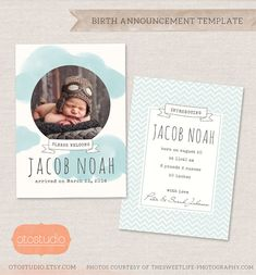 Birth Announcement Template - Watercolor Clouds CB016- INSTANT DOWNLOAD