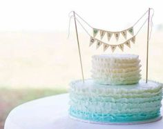 Just Married Wedding Cake Topper Banner with Custom Color Glittered Hearts, bakers banner