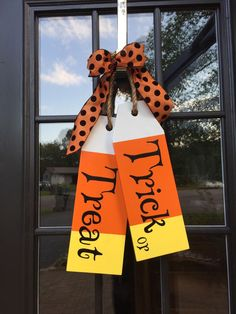 Large Wood Tags - Door Hanger - Trick or Treat - Hand Painted - Halloween Decor - Door Tags by Kreatme on Etsy https://www.etsy.com/listing/474709439/large-wood-tags-door-hanger-trick-or