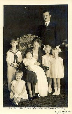 Grand Duchess Charlotte with her husband Prince Felix and their children