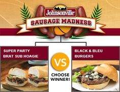 Brat Sub Hoagie vs. Black & Bleu Burgers - Check out the bracket on Facebook --> http://on.fb.me/sausagemadness