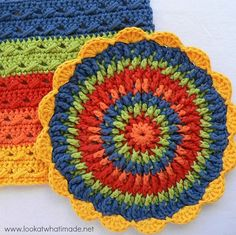 Front Post Frenzie Potholder by Dedri Uys - free pattern