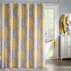 Shop for Intelligent Design Lilly Yellow Microfiber Printed Shower Curtain. Get free delivery On EVERYTHING* Overstock - Your Online Shower Curtains & Accessories Store! New Bathroom Ideas, Curtain Styles, Curtain Ideas, Yellow Bathrooms, Intelligent Design, Colorful Curtains, Bedding Shop, Home Decor, Damask