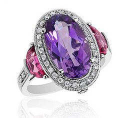 Reeds White Gold Roberta Z Amethyst Pink Tourmaline And Diamond Ring