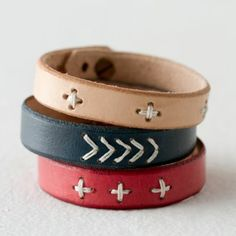 Amazing Hand-Stitched Leather Bracelet in Sale SHOP Jewelry+Accessories at Terrain, Check more at.Awesome Amazing Hand-Stitched Leather Bracelet in Sale SHOP Jewelry+Accessories at Terrain, Check more at. Leather Art, Leather Design, Leather Cuffs, Leather Tooling, Leather Jewelry, Leather Bracelets, Metal Jewelry, Leather Accessories, Handbag Accessories