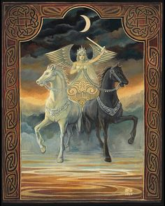 The Chariot Tarot Horse Goddess--In the tarot, the Chariot is a trump (or triumph) card and is symbolic of a union of opposites. The black and white horses pull in different directions. This requires the Charioteer to exert immense control, confidence, and sense of purpose to bring the two back together to move forward in one direction.