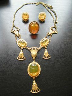Vintage Christian Dior Orange Scarab Glass Egyptian Revival Necklace Set | eBay