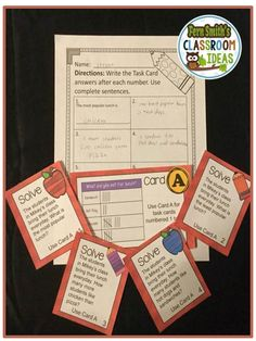 #FREE Problem Solving Problem Solving and Using a Table to Organize Data Task Cards and Answer Sheet #TPT #Freebie
