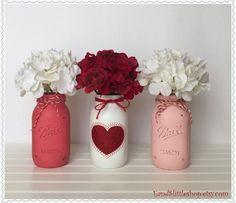 Mason Jar Table Centerpiece set-Valentines Day Decor-Valentine Décor-Wedding Centerpieces-Farmhouse Decor-Red-Pink-White-Rusty Decor