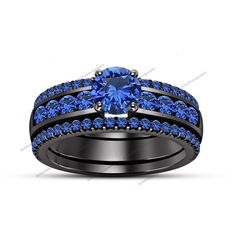 3 pcs Bridal Ring Set With 2-1/4 CTW Blue Sapphire In Channel & Fishtail Set #BR925