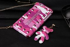 Ltaly Luxury Brand Valentino Military Camouflage Violent Bear Cover Coque Phone Case For iphone 6 6S Plus Necklace Case Coque