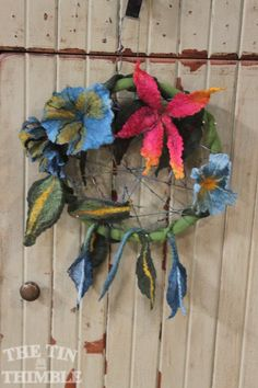 Wet felted dreamcatcher by a student in a workshp with Toni Lutman at The Tin Thimble.