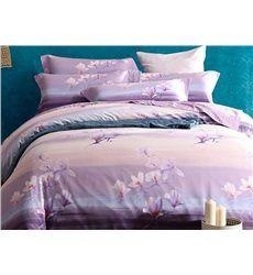 Elegant Purple Magnolia Print 4-Piece Soft Cotton Duvet Cover Sets