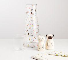 kikki-k glass water bottle with cup/cap