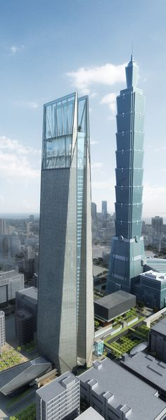 Nan Shan Plaza, Taipei, Taiwan, China :: 45 floors, height 303m and Taipei 101 Tower (back) by C.Y. Lee & Partners Architects :: 101 floors, height 508m